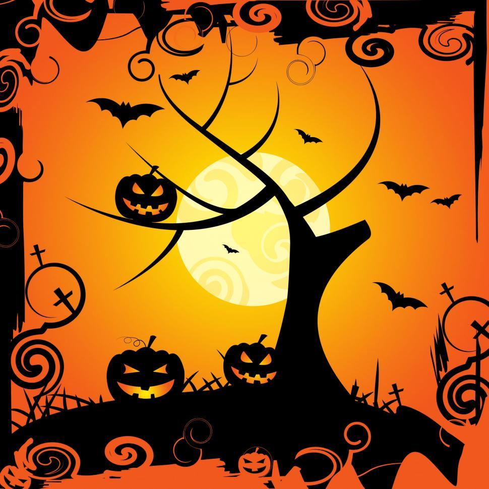 Download Free Stock Photo of Halloween Tree Means Trick Or Treat And Celebration