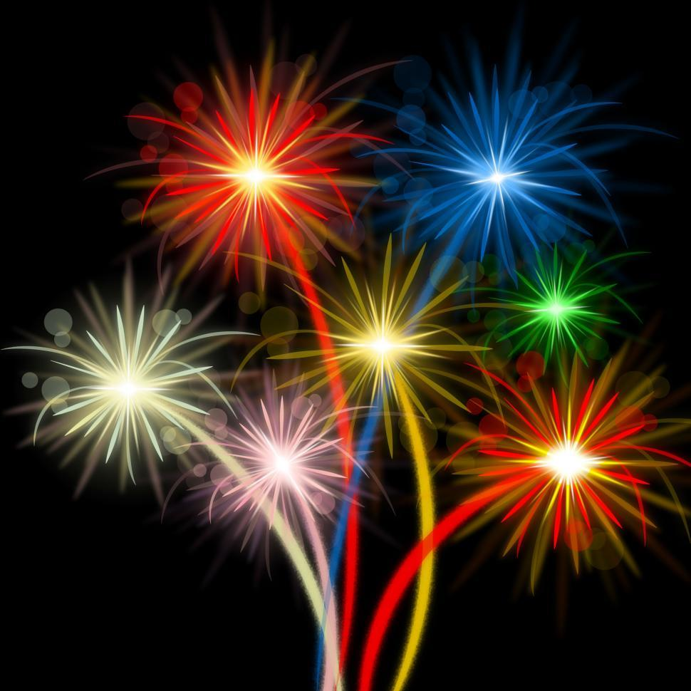 Download Free Stock Photo of Color Fireworks Indicates Explosion Background And Celebration