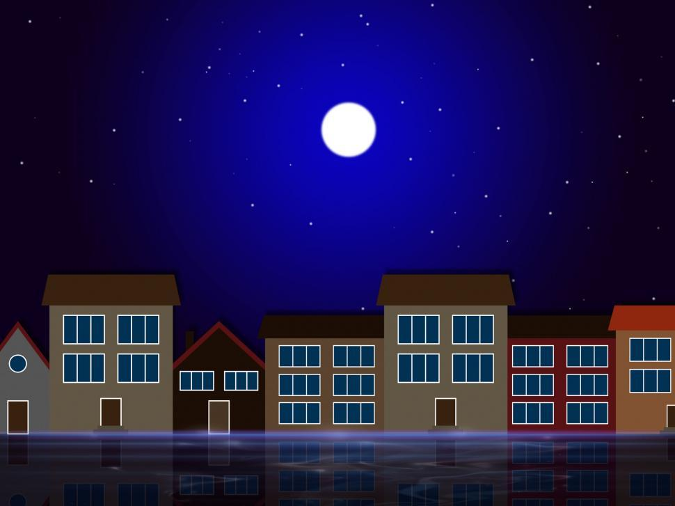 Download Free Stock HD Photo of Moon Night Indicates Astronomy House And Residential Online