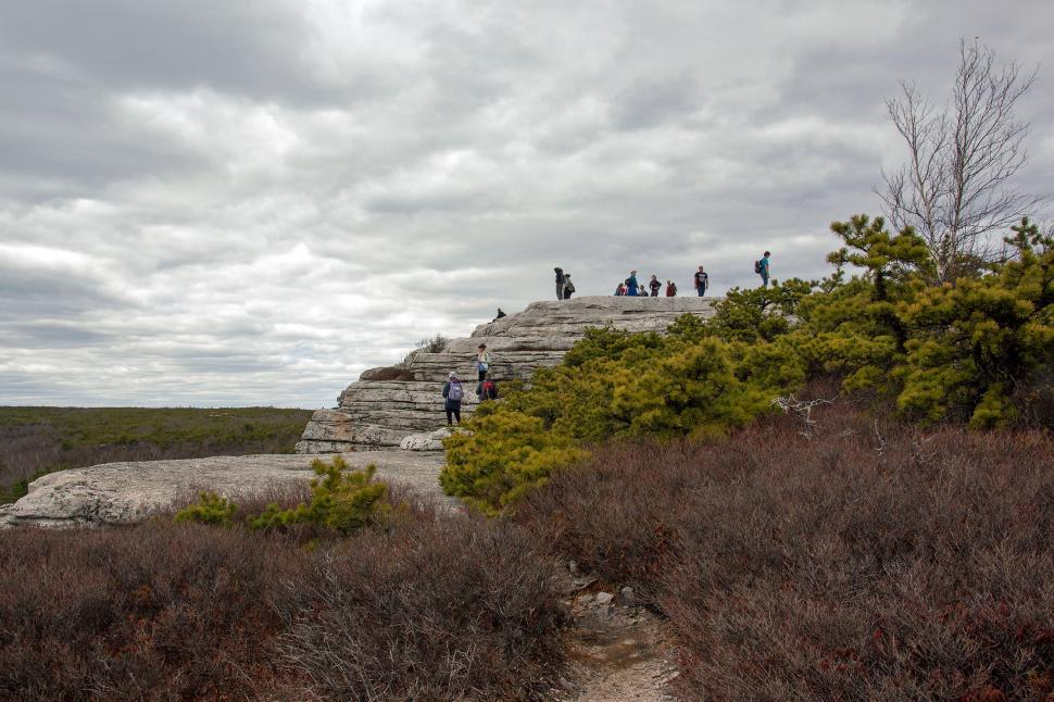 Download Free Stock HD Photo of Hikers Climbing Rocks at Sam s Point Preserve Online