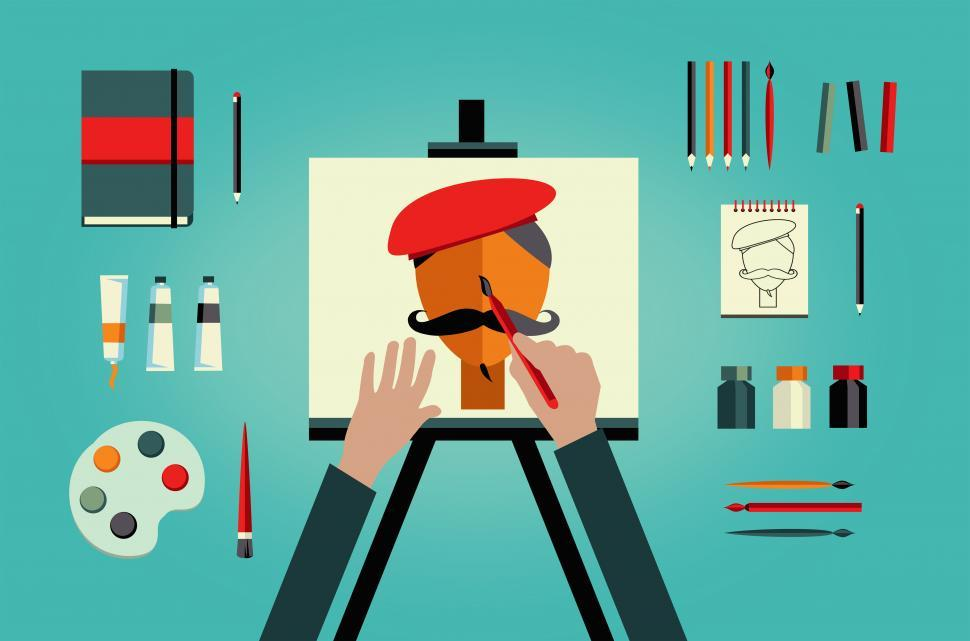 Download Free Stock Photo of Artist painter painting self-portrait - art and creativity conce