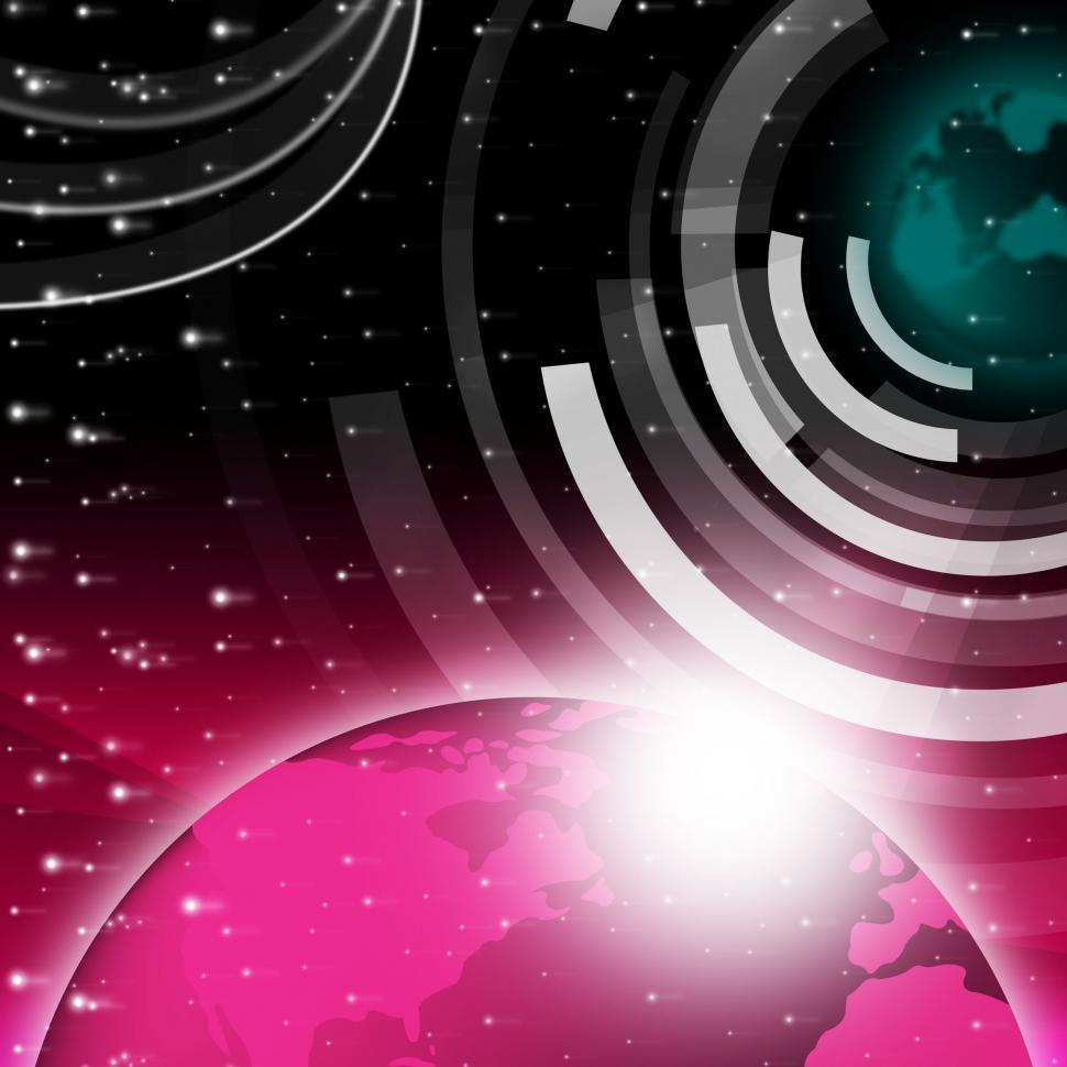 Download Free Stock Photo of Planet Background Shows Sending And Receiving Data