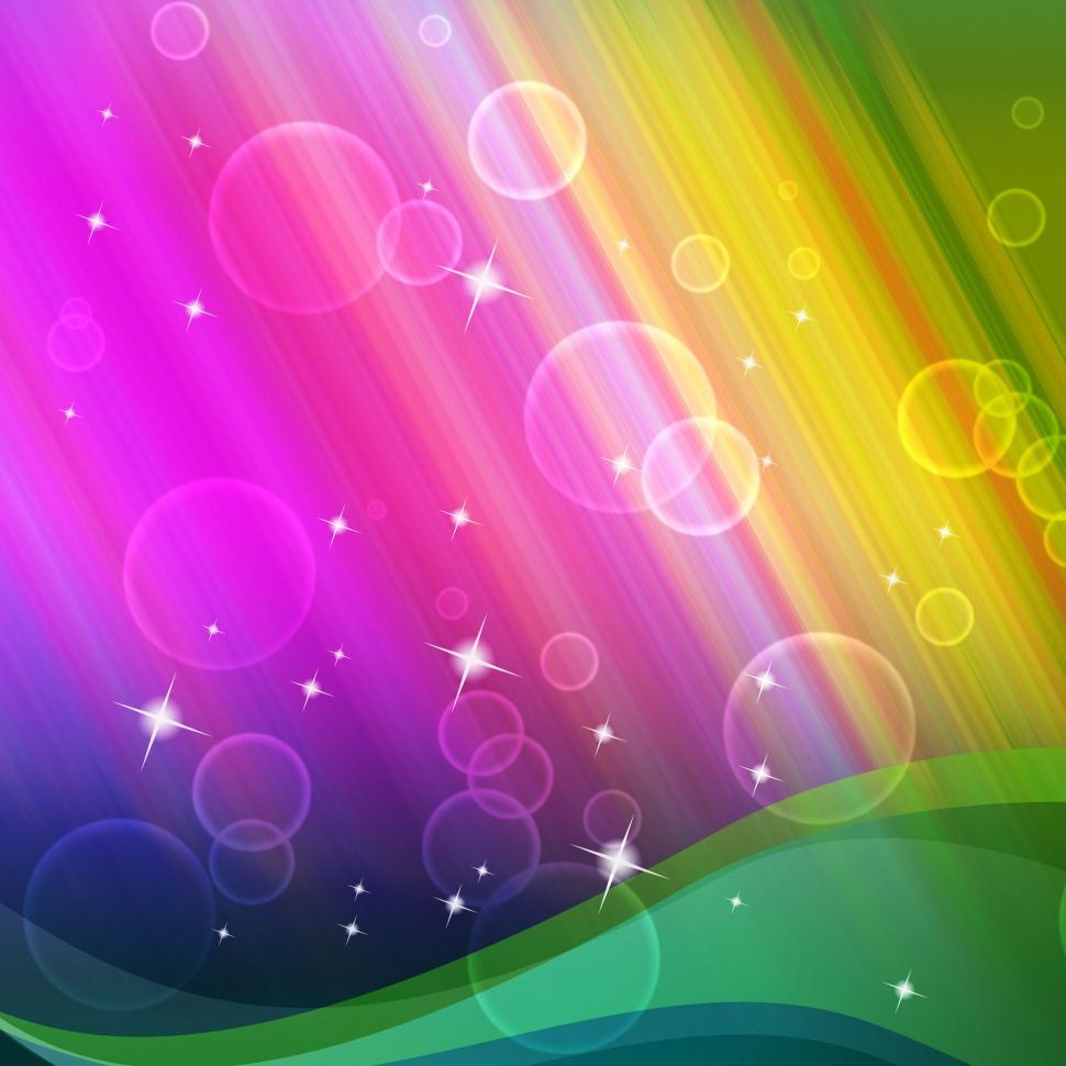 Download Free Stock Photo of Rainbow Bubbles Background Shows Circles And Ripples