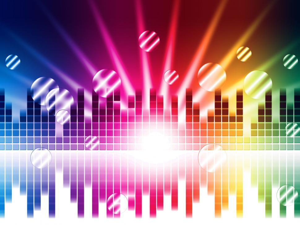 Download Free Stock Photo of Bright Colors Background Shows Sound Light Waves And Circles