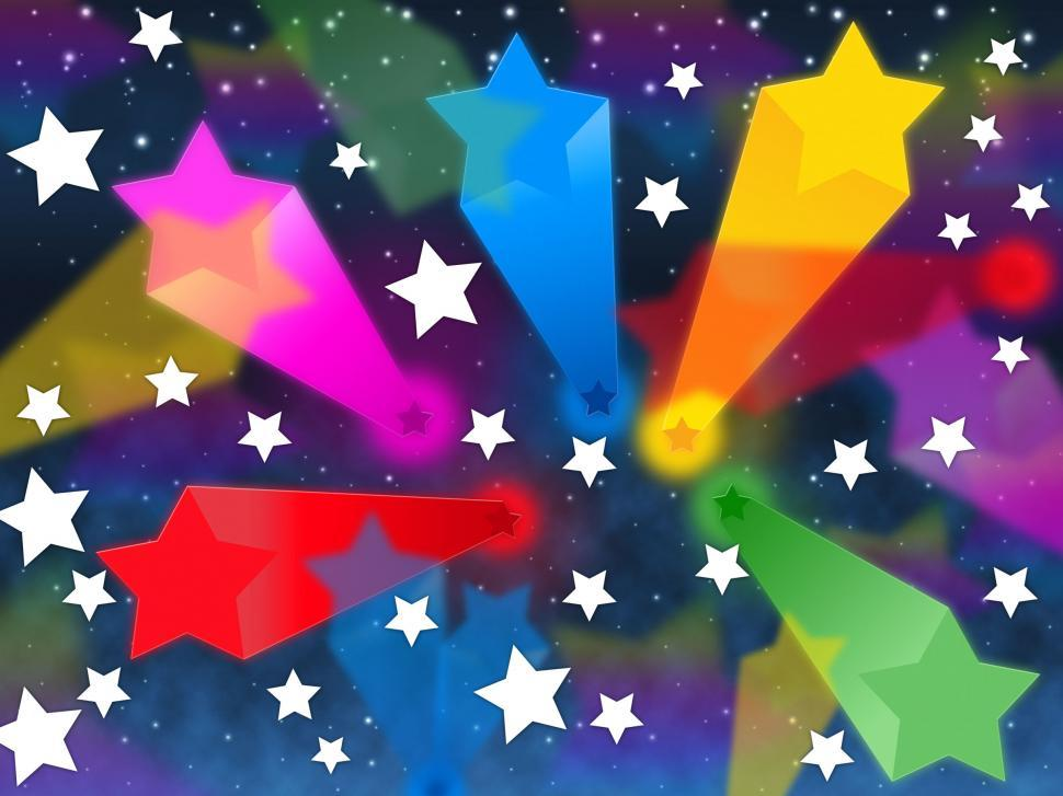 Download Free Stock Photo of Colorful Stars Background Shows Shooting Space And Colors