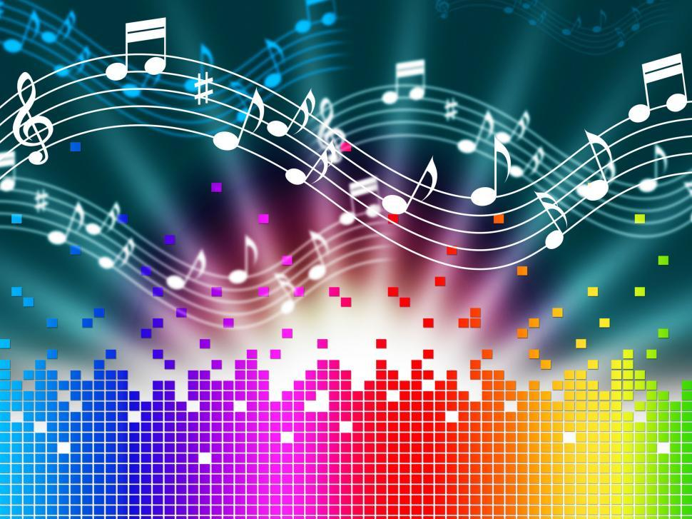 Download Free Stock Photo of Rainbow Music Background Means Melody Singing And Soundwaves