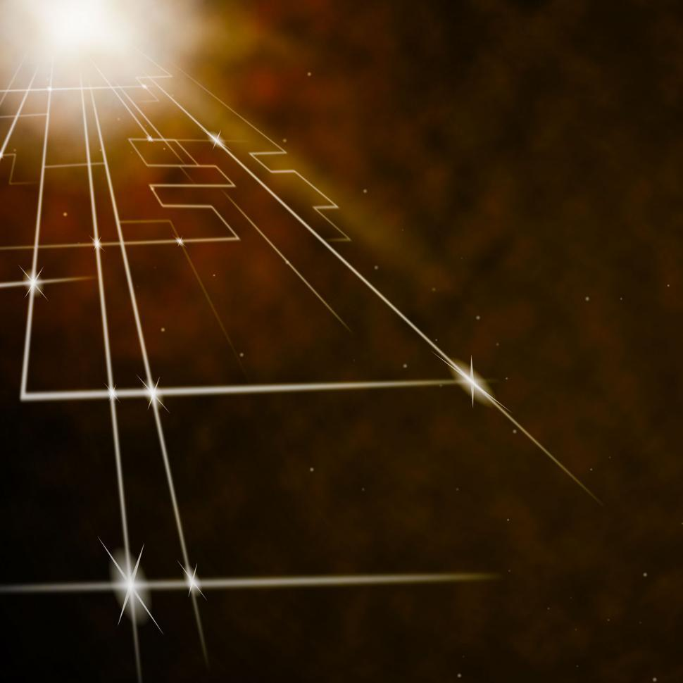 Download Free Stock Photo of Laser Circuit Background Shows Shining Lines Or Concept