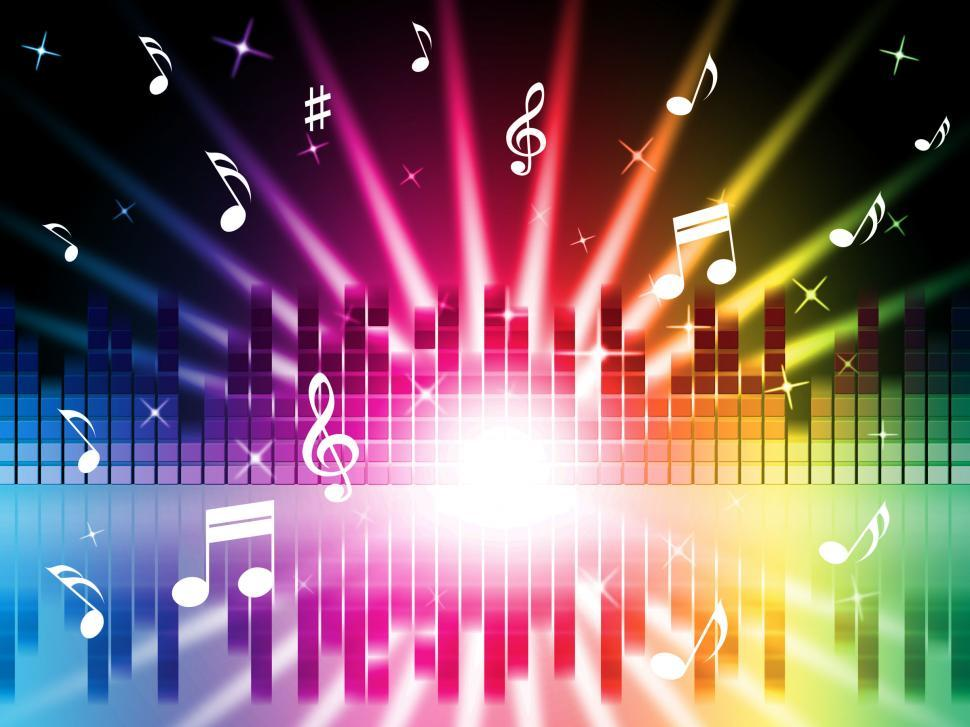 Download Free Stock Photo of Music Colors Background Shows Instruments Songs And Frequencies