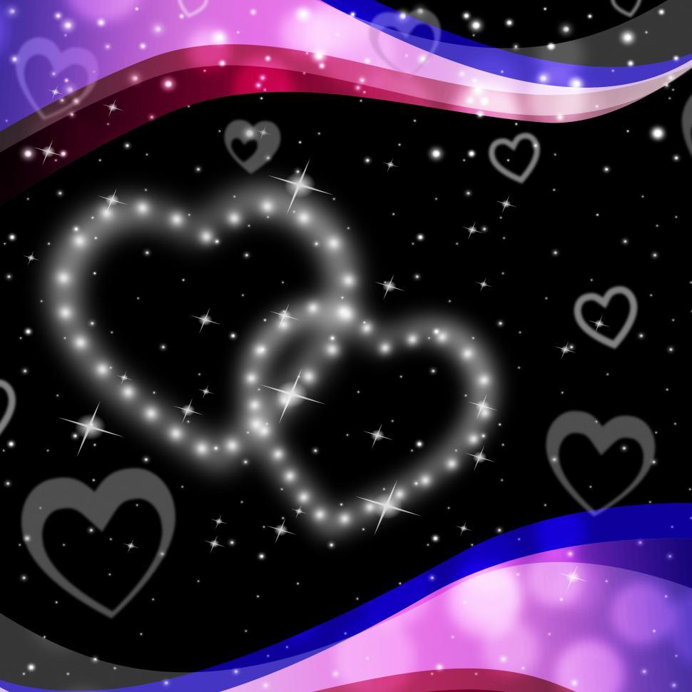 Download Free Stock Photo of Twinkling Hearts Background Means Night Sky And Love