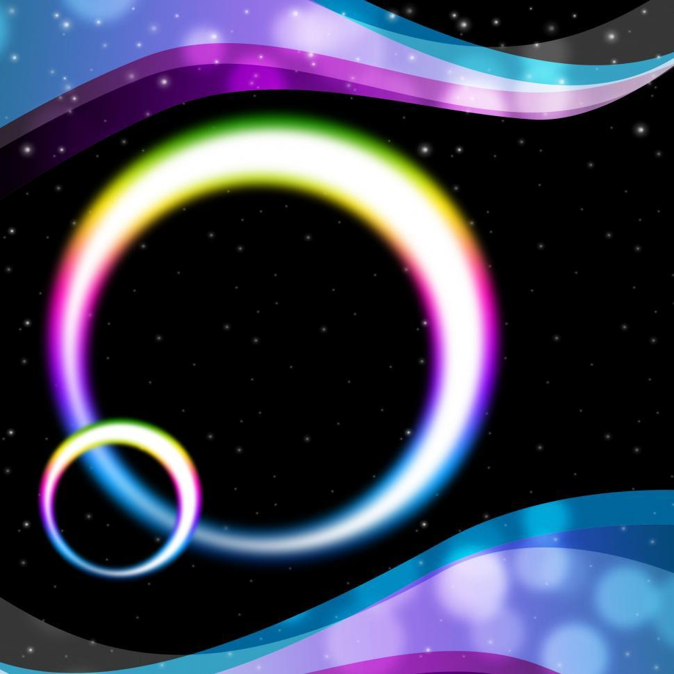 Download Free Stock Photo of Rainbow Circles Background Means Night Sky And Ripples