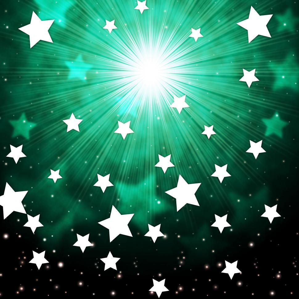 Download Free Stock Photo of Green Sky Background Shows Radiance Stars And Heavens