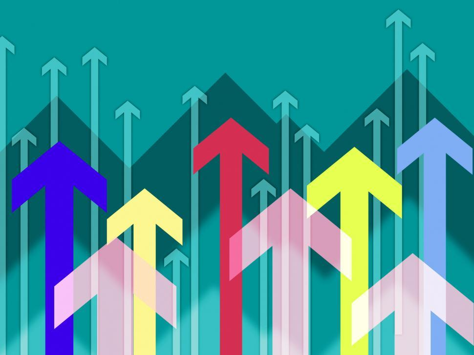 Download Free Stock Photo of Turquoise Arrows Background Means Rise Uwards And Higher