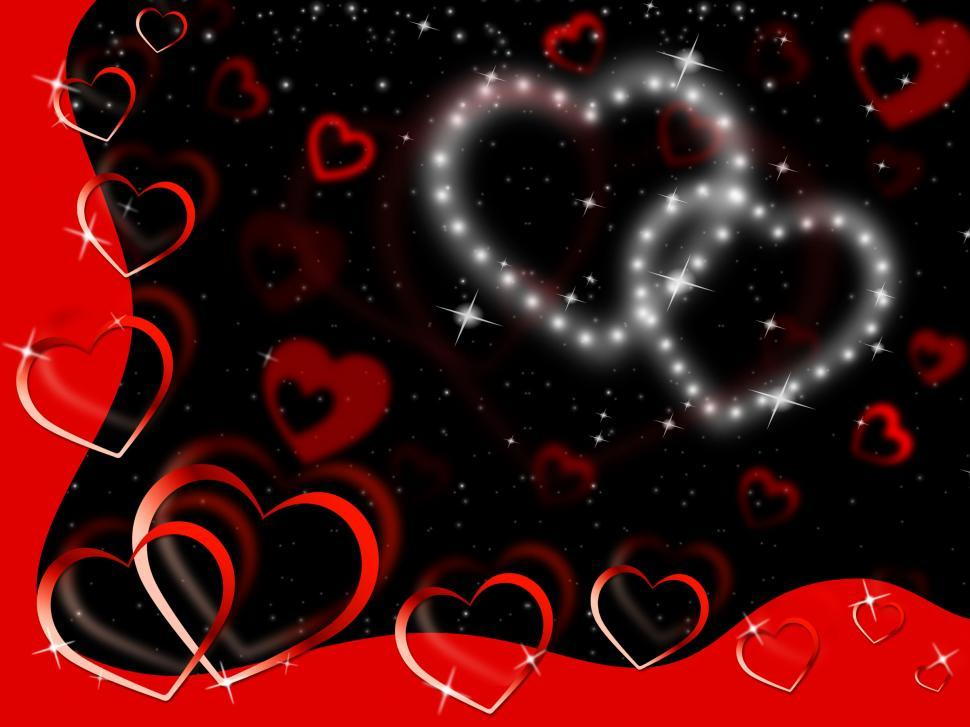 Download Free Stock Photo of Glittering Hearts Background Show Tenderness Affection And Love