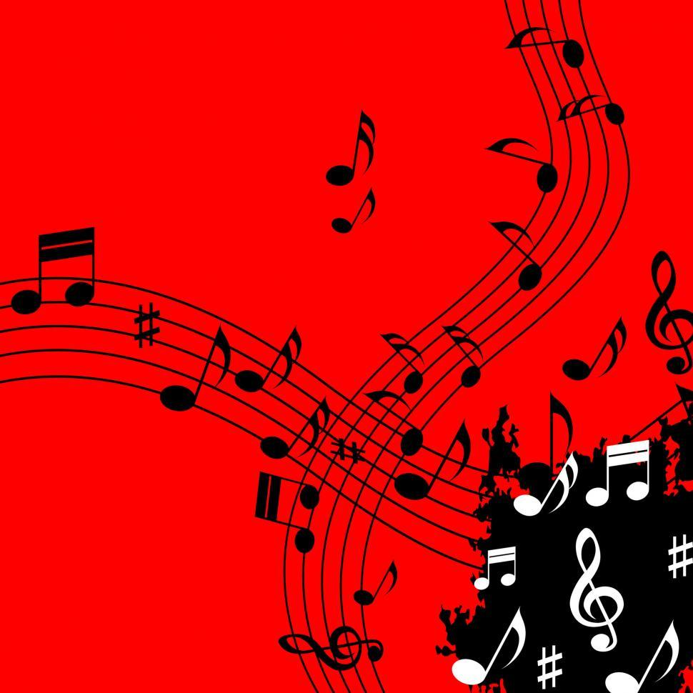 Download Free Stock Photo of Red Music Background Means Soundwaves Piece And Notes