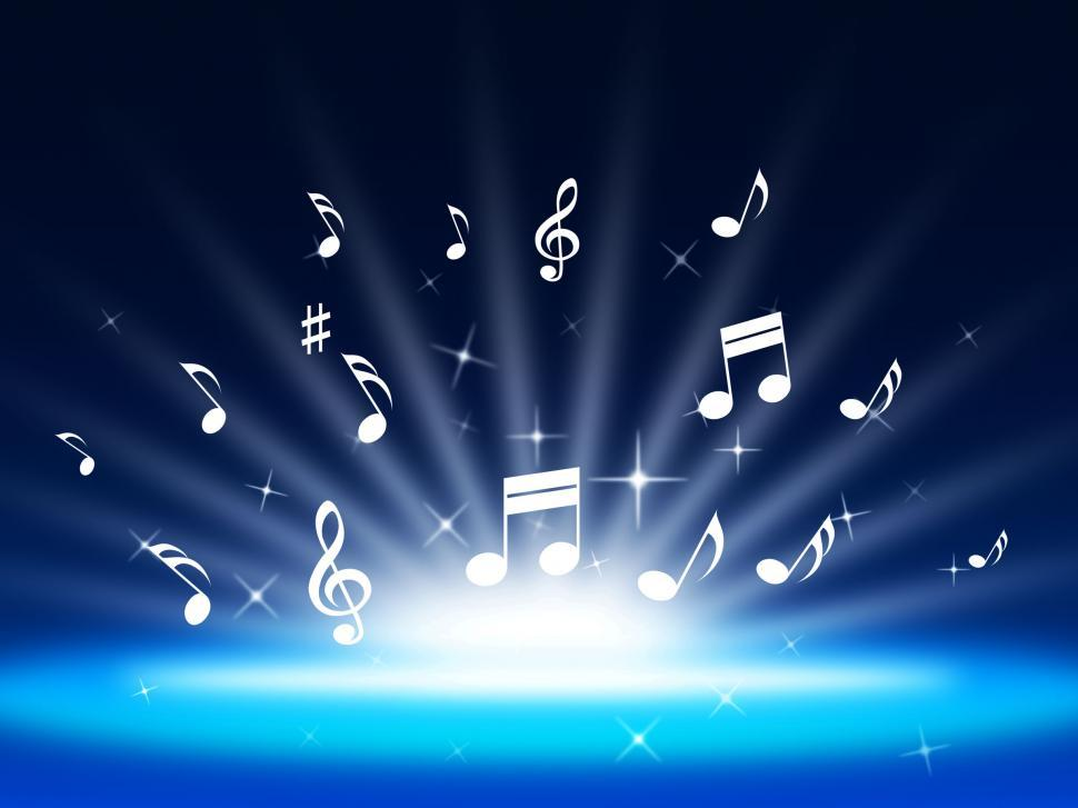 Download Free Stock HD Photo of Blue Music Background Means Instruments And Soundwaves  Online