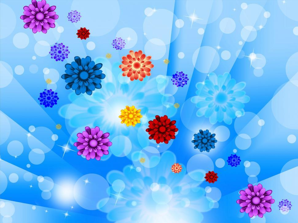 Download Free Stock HD Photo of Blue Flowers Background Shows Glow Beams Bubbles And Pretty  Online