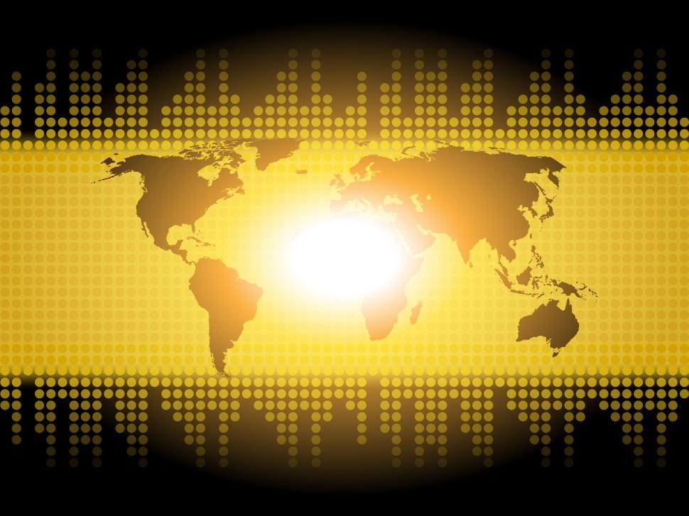 Download Free Stock Photo of World Map Background Shows International Communication Or Global