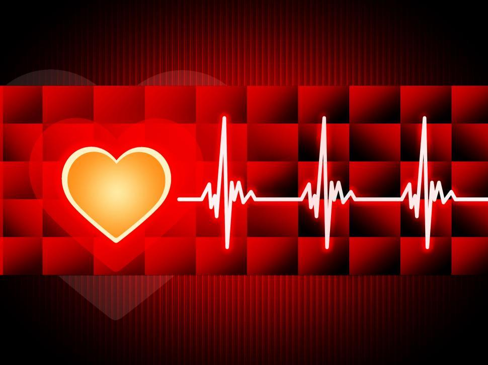 Download Free Stock Photo of Red Heart Background Means Cardiac Rhythm And Cubes