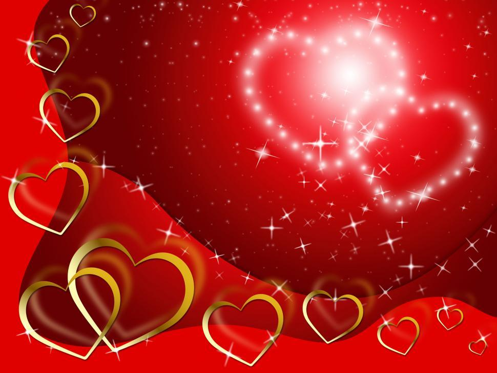 Download Free Stock Photo of Twinkling Hearts Background Shows Lover And Fondness