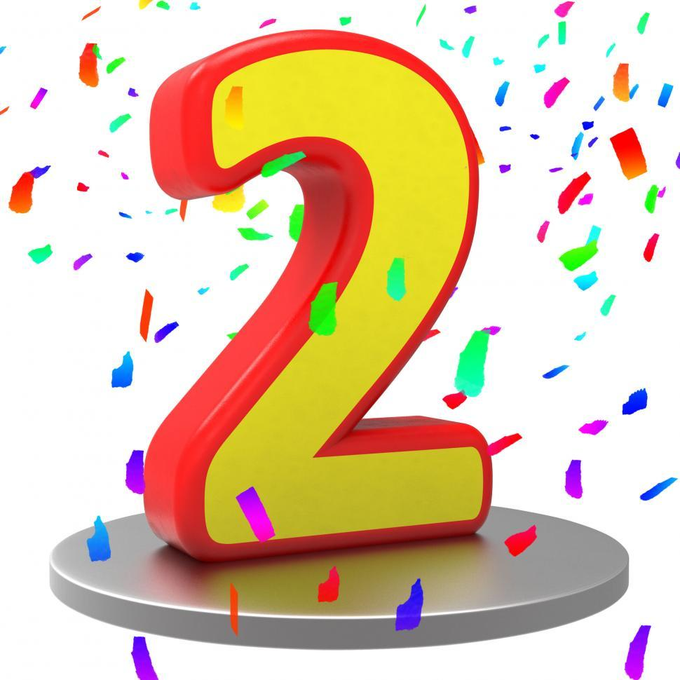 Download Free Stock Photo of Two Anniversary Represents Happy Birthday And 2Nd