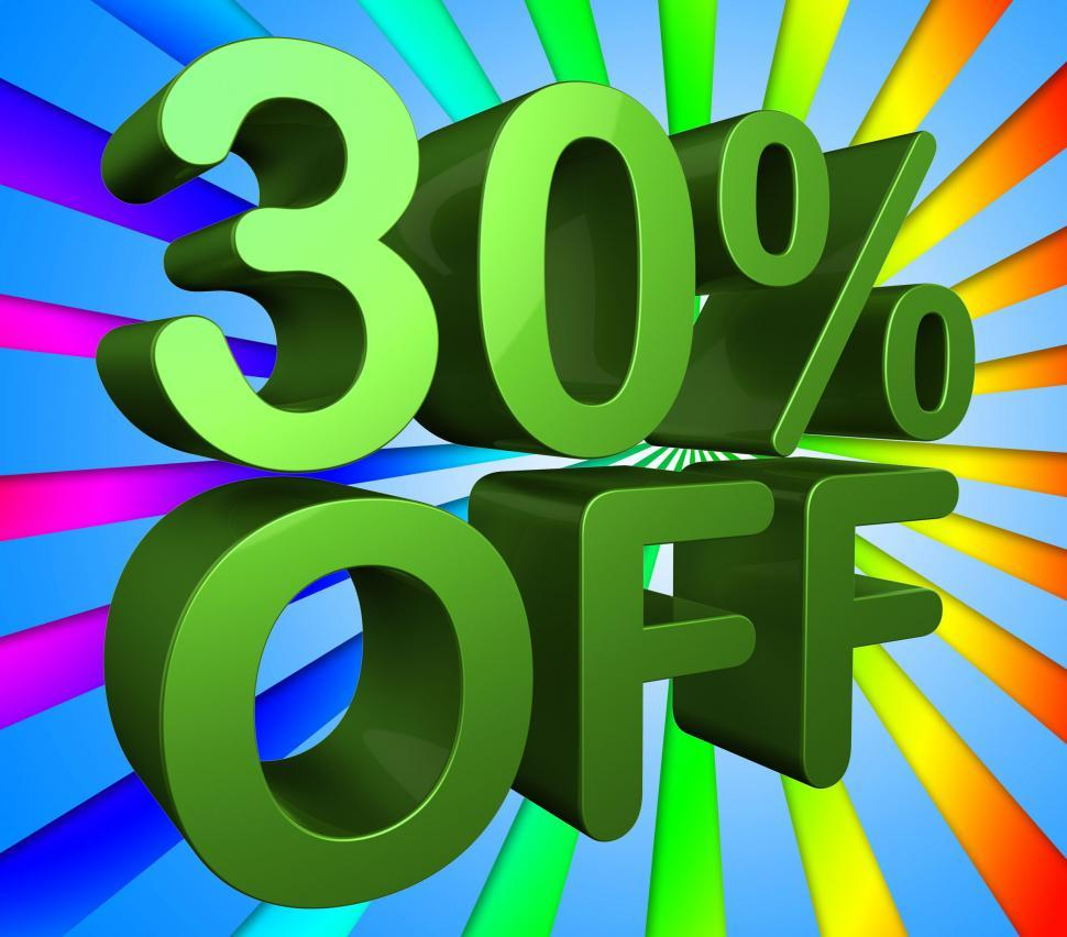 Download Free Stock Photo of Thirty Percent Off Indicates Cheap Sales And Save