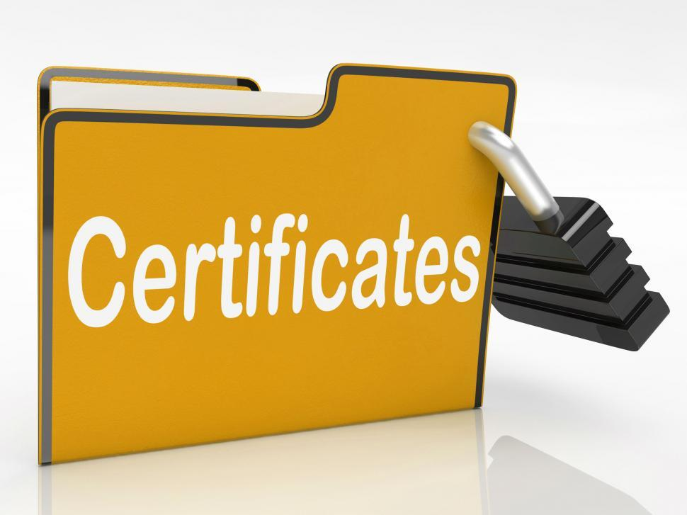 Download Free Stock HD Photo of Certificates Security Indicates Private Achievement And Binder Online