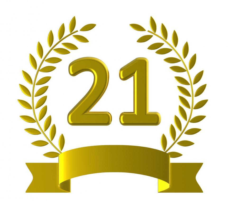 Download Free Stock Photo of Twenty One Means Happy Birthday And 21