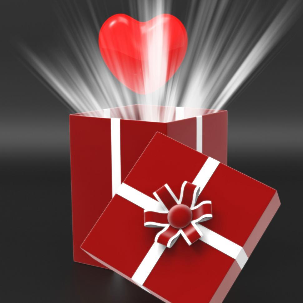Download Free Stock Photo of Giftbox Heart Shows Valentines Day And Affection