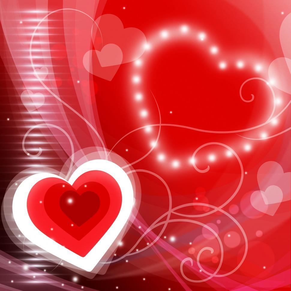 Download Free Stock Photo of Glow Heart Shows Valentines Day And Backdrop