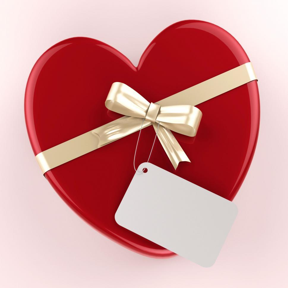 Download Free Stock Photo of Gift Tag Indicates Heart Shape And Gift-Box
