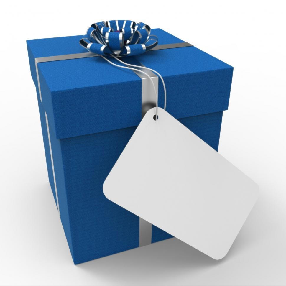 Download Free Stock Photo of Gift Tag Indicates Empty Space And Blue