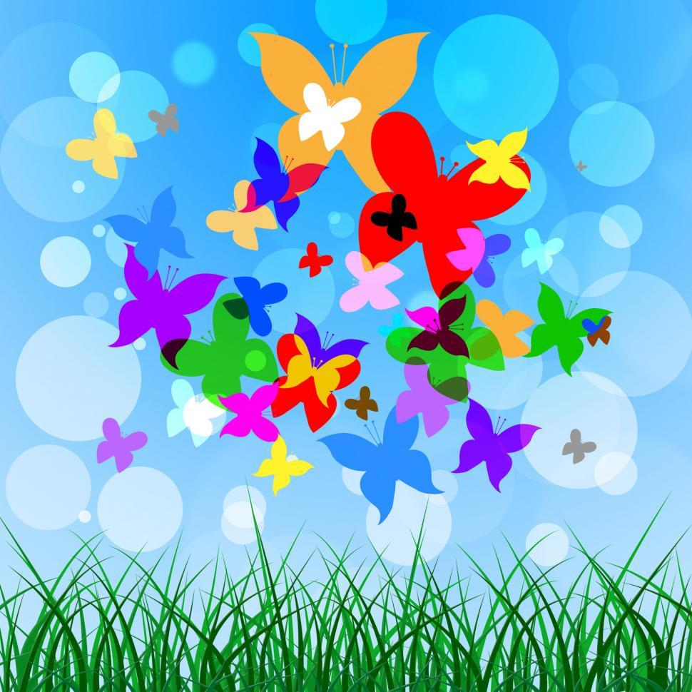 Download Free Stock Photo of Background Butterflies Represents Summer Time And Creature