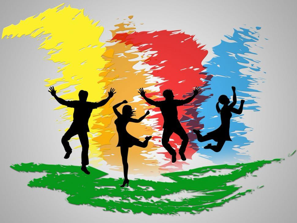 Download Free Stock HD Photo of Colorful Jumping Indicates Friends Happiness And Positive Online