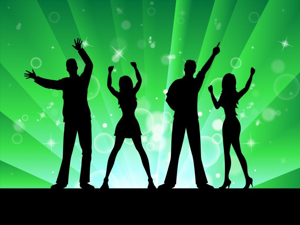 Download Free Stock Photo of Silhouette Disco Represents Music Profile And Outline