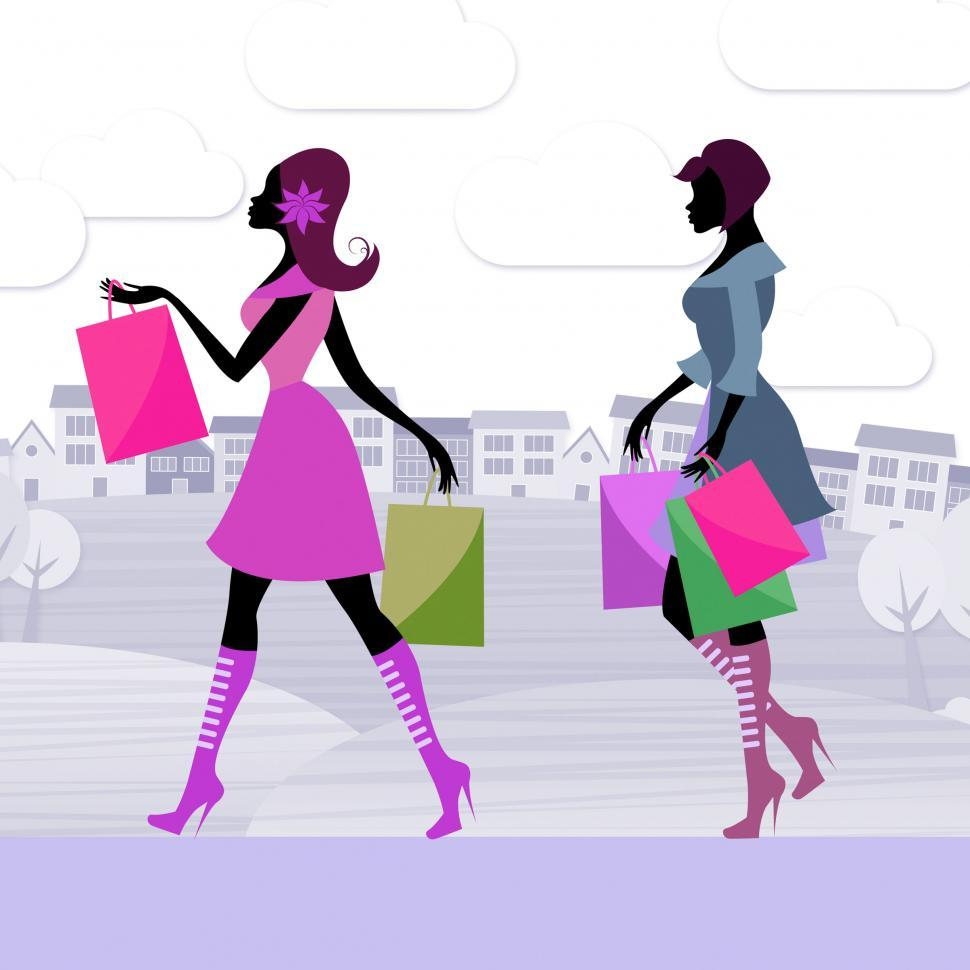 Download Free Stock HD Photo of Shopper Women Means Retail Sales And Adults Online