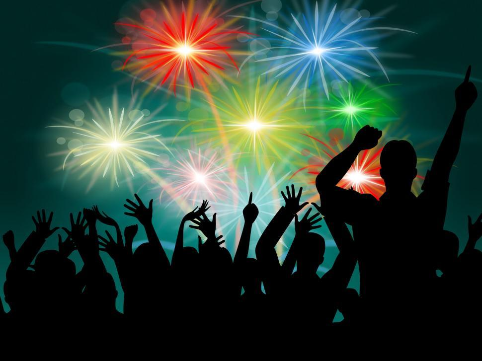 Download Free Stock Photo of Dancing Disco Represents Fireworks Display And Celebrate