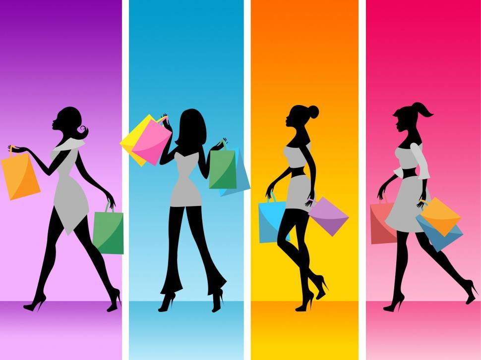 Download Free Stock HD Photo of Women Shopping Shows Retail Sales And Adult Online