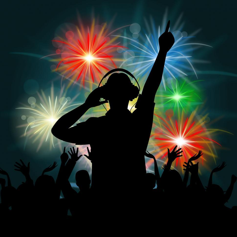 Download Free Stock Photo of Fireworks Dj Represents Explosion Background And Celebrate