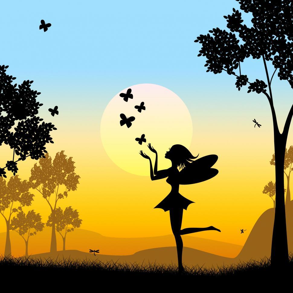 Download Free Stock Photo of Silhouette Fairy Shows Faries Fairyland And Silhouettes