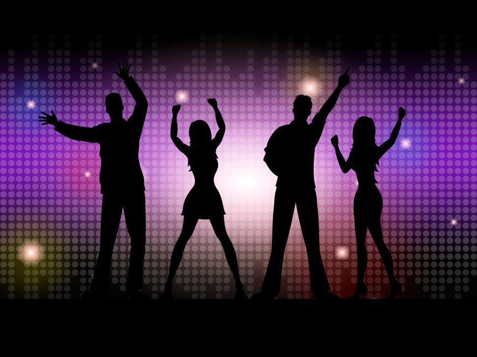 Download Free Stock HD Photo of Silhouette People Indicates Disco Dancing And Celebration Online