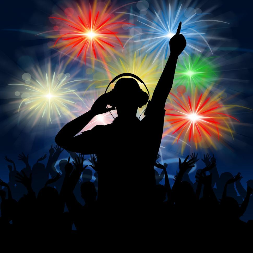 Download Free Stock HD Photo of Disco Dj Represents Fireworks Display And Celebrating Online