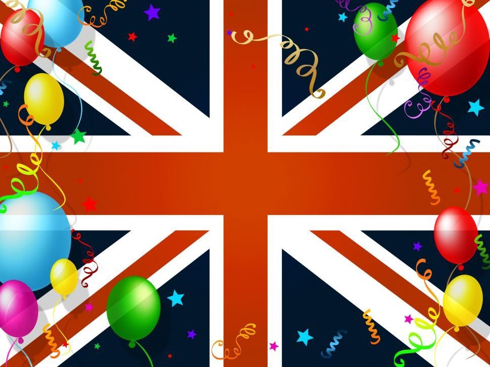Download Free Stock Photo of Union Jack Represents English Flag And Balloon