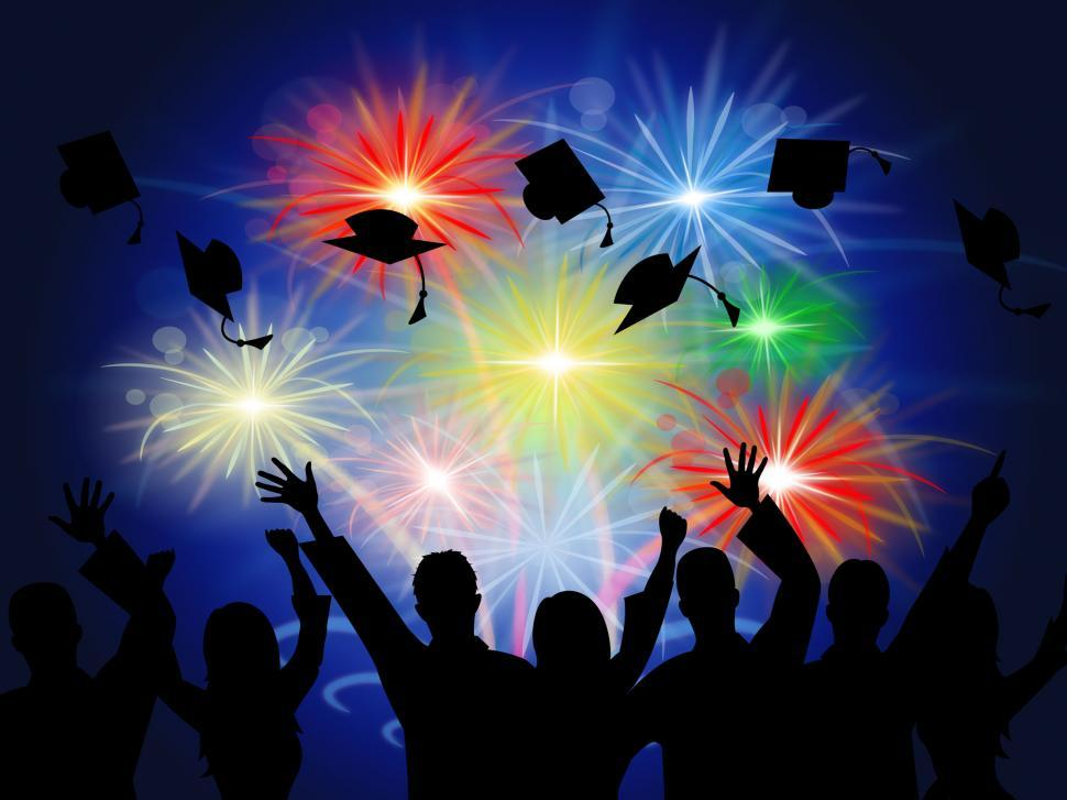 Download Free Stock HD Photo of Fireworks Education Shows New Grad And Achievement Online
