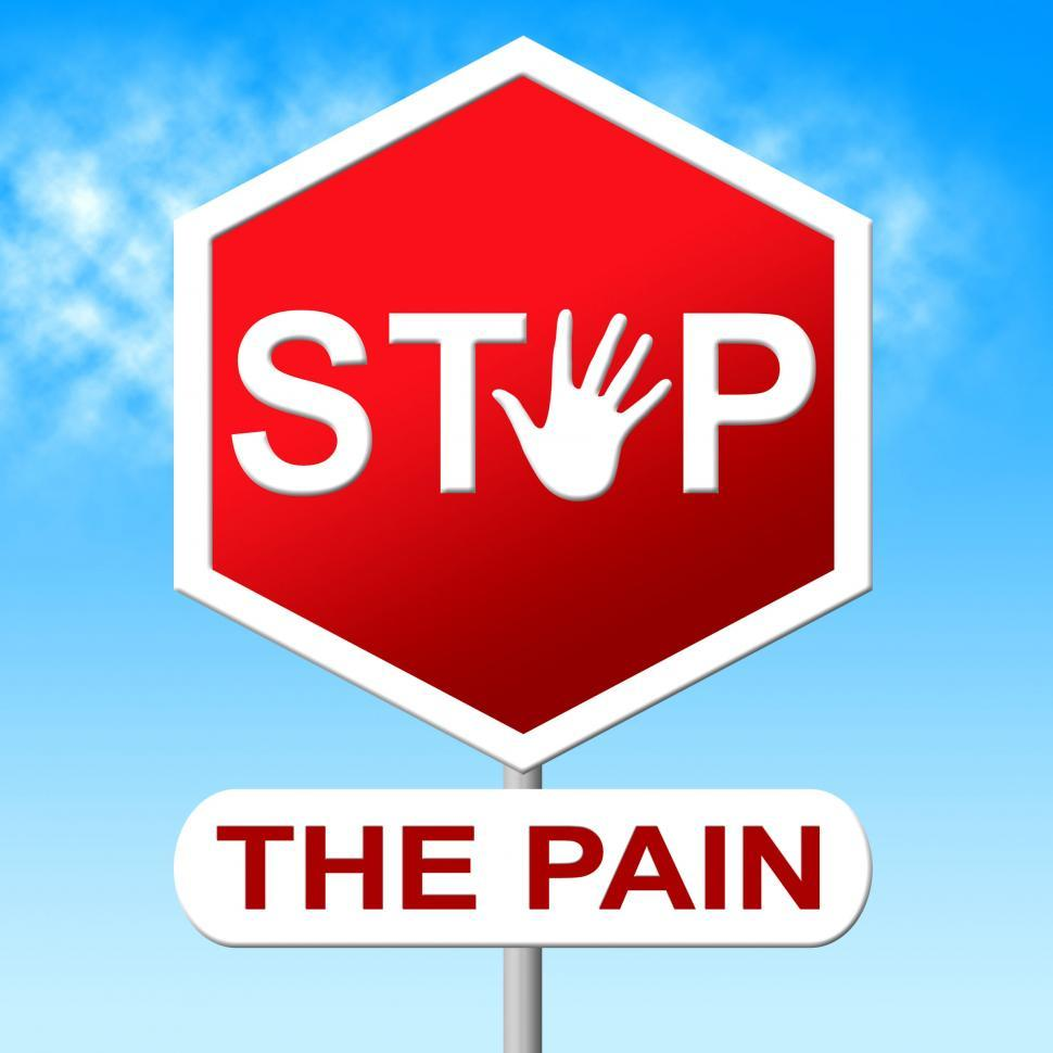 Download Free Stock Photo of Pain Stop Indicates Warning Sign And Control