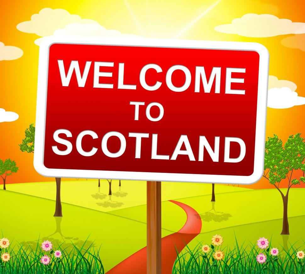 Download Free Stock Photo of Welcome To Scotland Indicates Meadows Greetings And Country