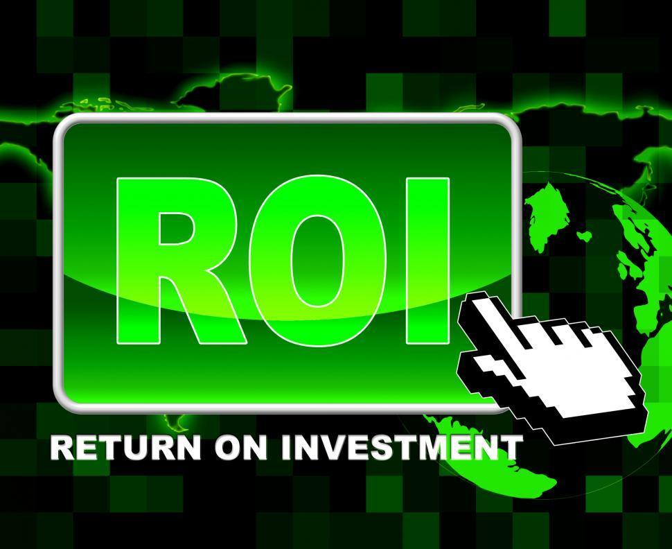 Download Free Stock HD Photo of Button Roi Means World Wide Web And Investments Online