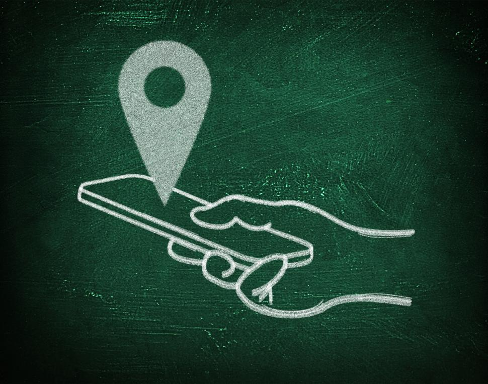 Download Free Stock HD Photo of Location with virtual gps maps - Chalkboard drawing with smartph Online