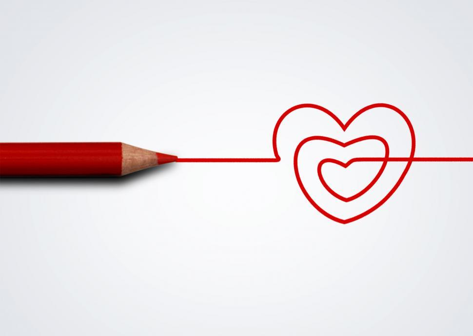 Download Free Stock Photo of Red pencil drawing heart - Love and care concept