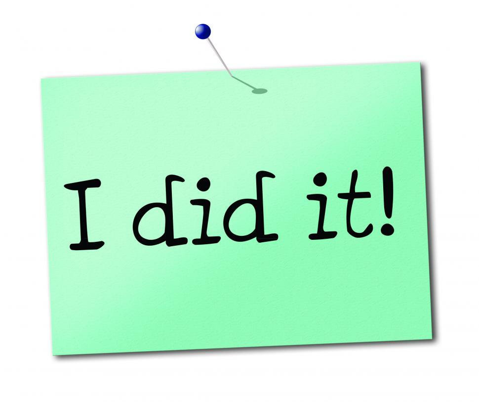 Download Free Stock Photo of I Did It Shows Message Advertisement And Succeed