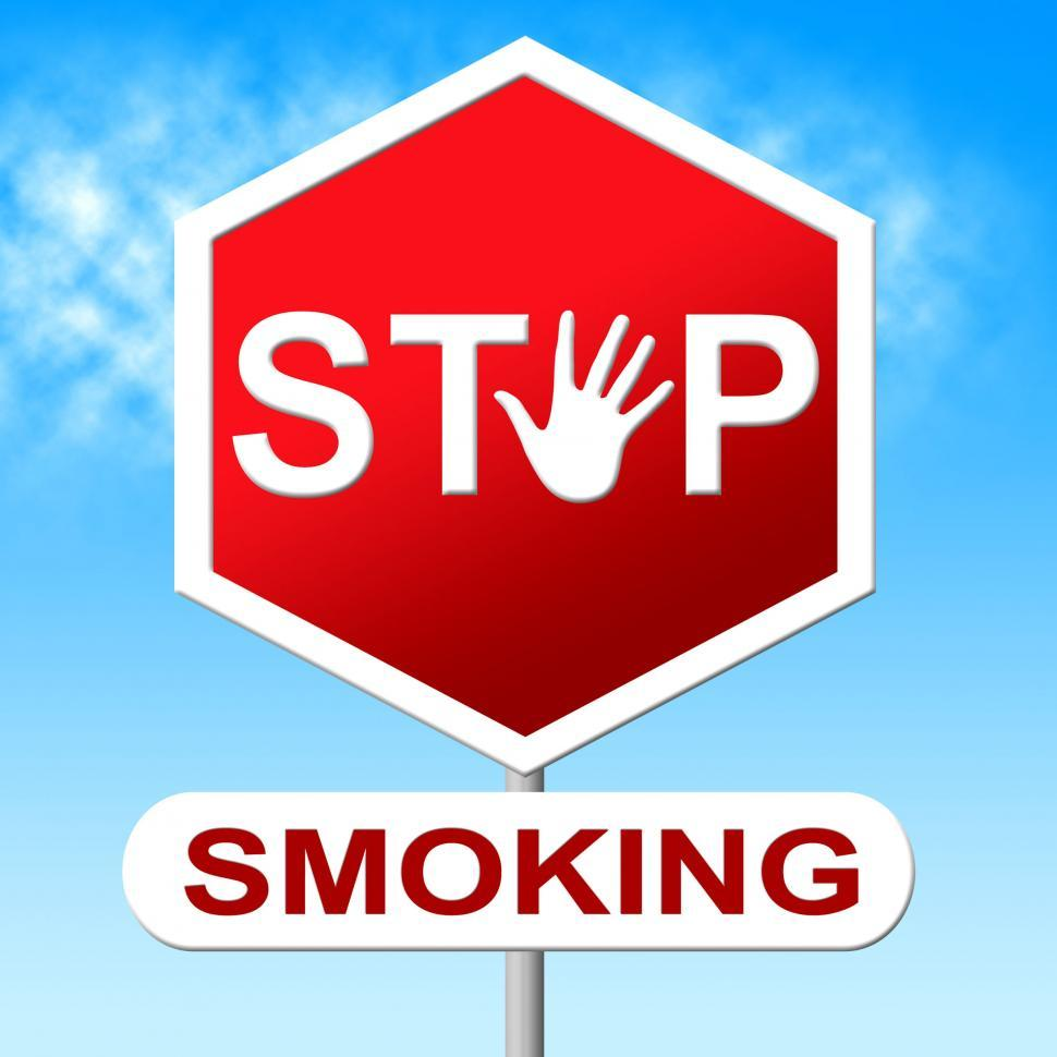 Download Free Stock HD Photo of Stop Smoking Means Warning Sign And Caution Online